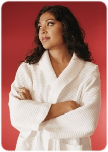 Woman in robe flipped