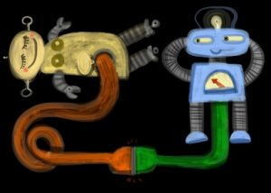 two funny robots making love
